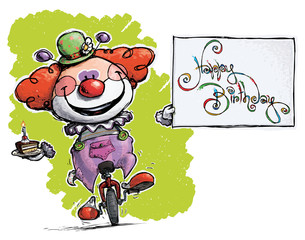 Clown on Unicycle Holding a Happy Birthday Card