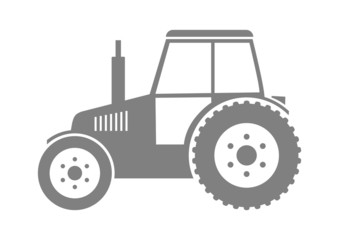 Grey tractor icon on white background