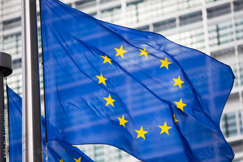 EU flag in front of Berlaymont building facade