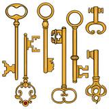 Vector Set of Cartoon Antique Keys.