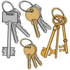 Vector Set Cartoon Bunches of Keys
