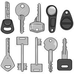 Vector Set of Cartoon Modern Keys.