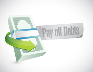 pay off debts sign illustration design