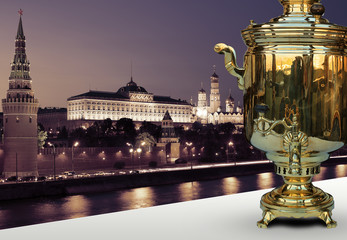 Old samovar on the background of the Kremlin, Moscow, Russia