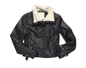 Leather female biker  modern jacket isolated on white.