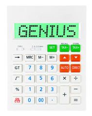 Calculator with GENIUS on display isolated on white background