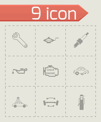 Vector black car service icons set