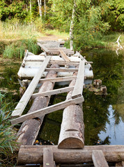 The small shabby bridge in park over a pond