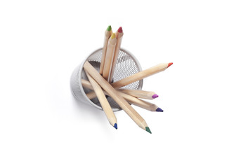 Colored pencils in penholder