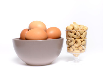 Health cashew nuts, olive oil, eggs, these are food for energy