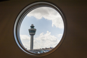 Airport command tower in see through window