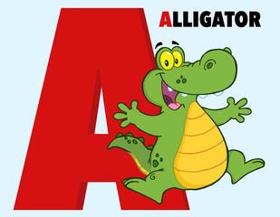 Funny Cartoon Alphabet-A With Alligator