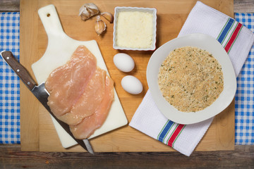 Preparation of chicken breast cutlets with ingredients