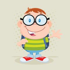 Happy Geek Boy Waving Flat Design With Background