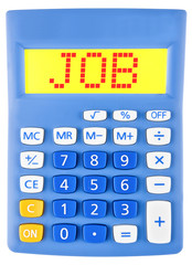 Calculator with JOB on display isolated on white background