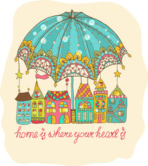 Color cartoon houses under umbrella