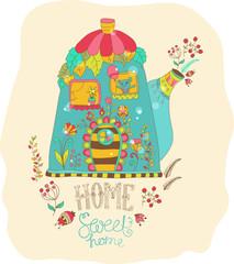 Color cartoon home
