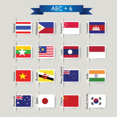 national flags of AEC plus six countries