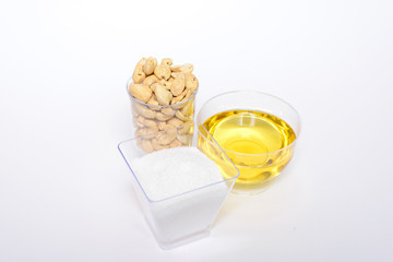 Health cashew nuts, olive oil, eggs and sugar