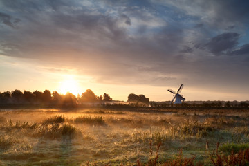 misty sunrise over meadow with windmill
