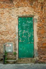 Porta di servizio di legno vecchio, verde