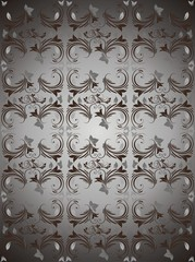 Dark silver floral vector background