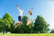 canvas print picture - Paar springt verliebt auf Park Wiese