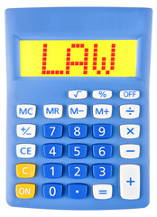 Calculator with LAW on display isolated on white background