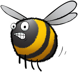 Rushing bee cartoon character