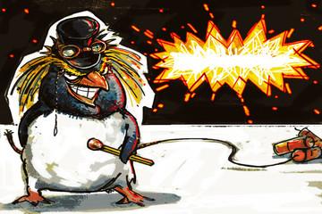 Mr. Penguin, fan of fireworks. card