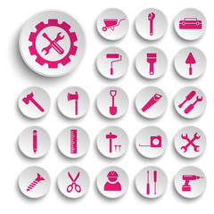 Building and tools icons vector collection