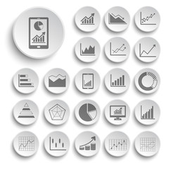 business graph icons vector collection