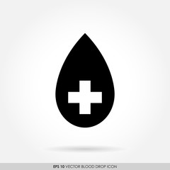 Black drop icon with cross sign-blood donation & medical concept