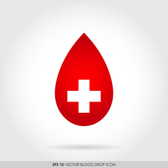 Red blood drop icon with cross sign - blood donation concept