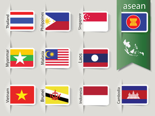white rounded corner ASEAN flags in sleeves