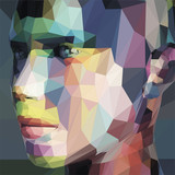 Abstract portrait, made of triangles