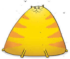Happy Fat Tom cat Cartoon Character Illustration