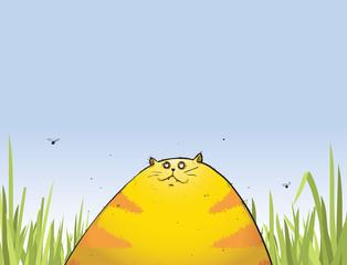 Fat cat sitting in the garden cartoon