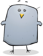 Surprised Fat Bird Cartoon Character Illustration