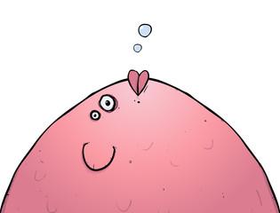 Isolated fat pink fish cartoon