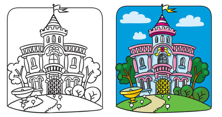 Fairy palace. Coloring book