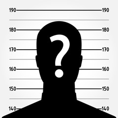 Mugshot or police lineup picture of anonymous man silhouette