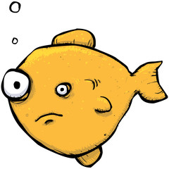 Funny goldfish cartoon character illustration
