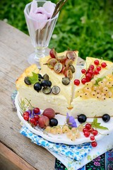 Slice of cheesecake with berries