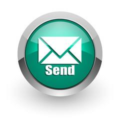 send green glossy web icon
