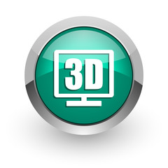 3d display green glossy web icon