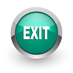 exit green glossy web icon