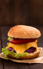 Cheeseburger closeup shot