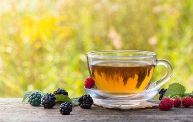 Cup of tea with raspberry and blackberry on meadow background