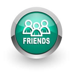 friends green glossy web icon